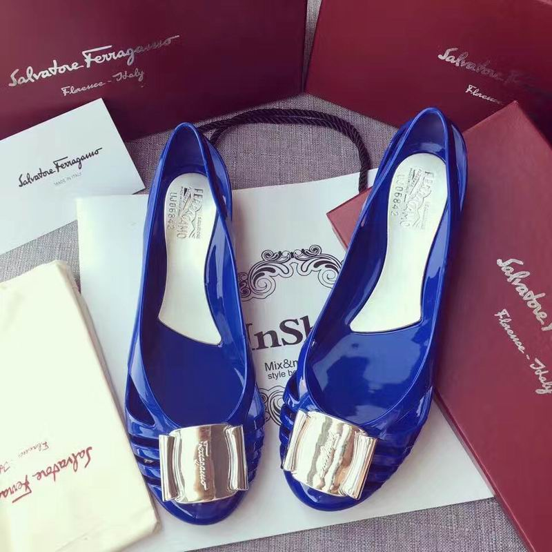 Ferragamo Bermuda Cutout Jelly Wedge Sandals Blue