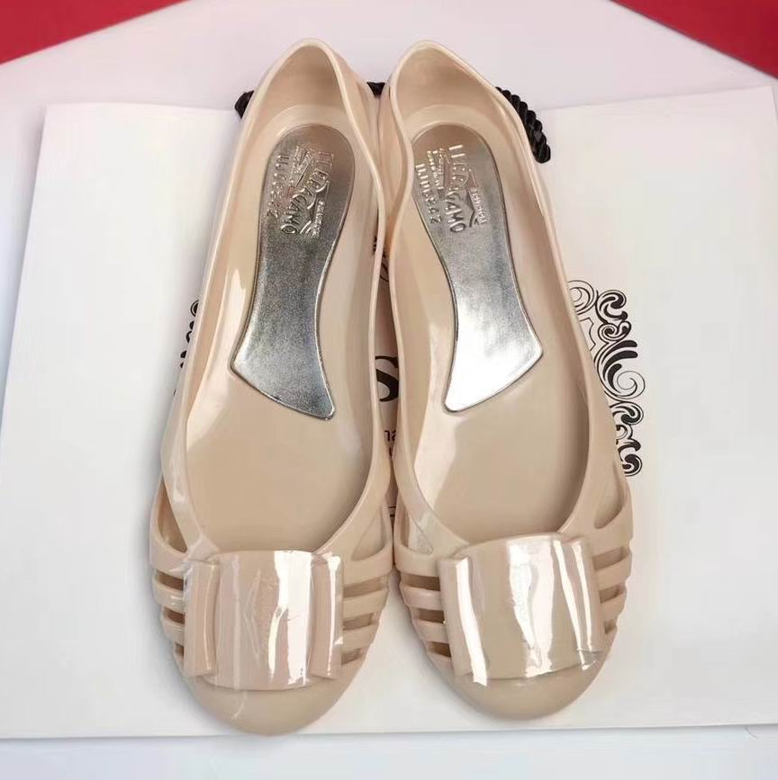 Ferragamo Bermuda Cutout Jelly Wedge Sandals Champagne