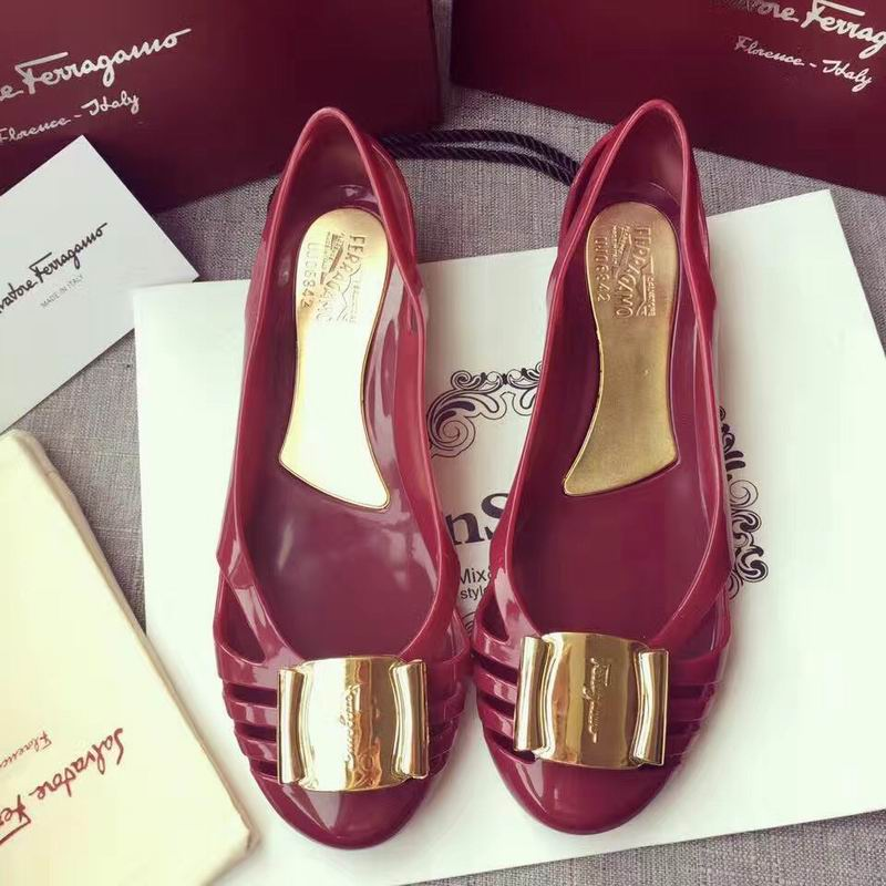 Ferragamo Bermuda Cutout Jelly Wedge Sandals Wine