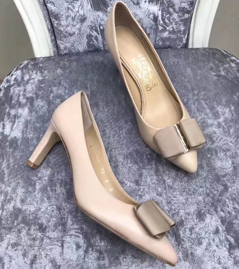 Ferragamo Mimi 70mm Pump in Calfskin Nude