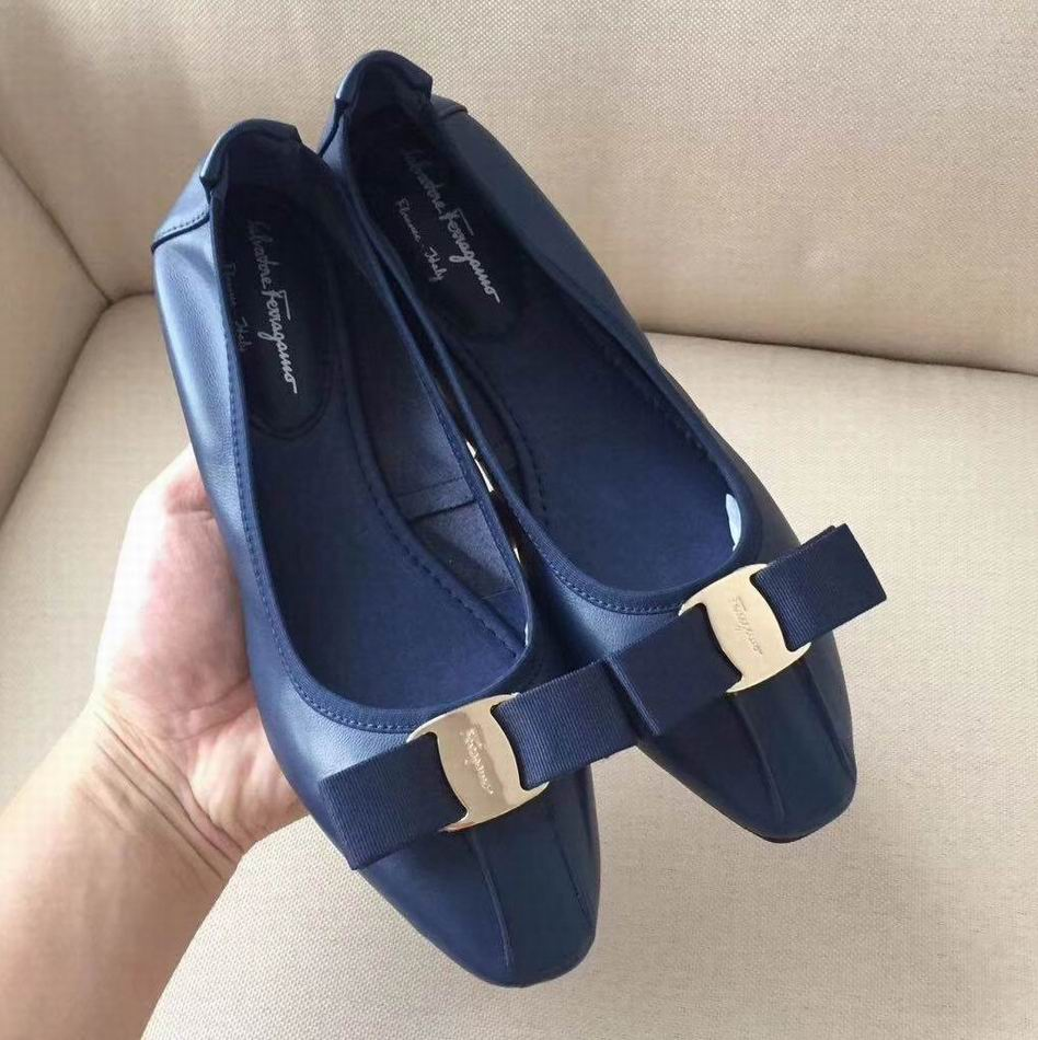 Ferragamo Ballet Flat Sneakers with Vara Bow Blue