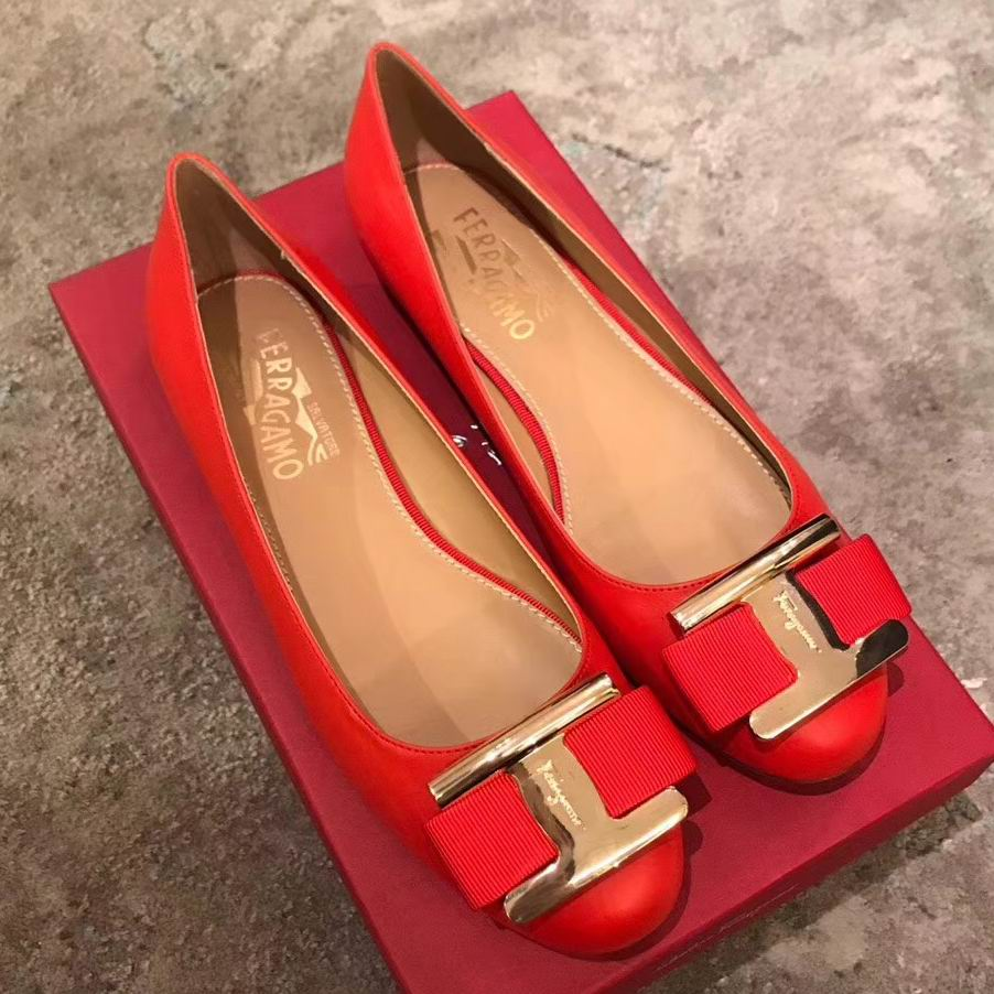 Ferragamo Ninna Ballerina Leather Flats Red