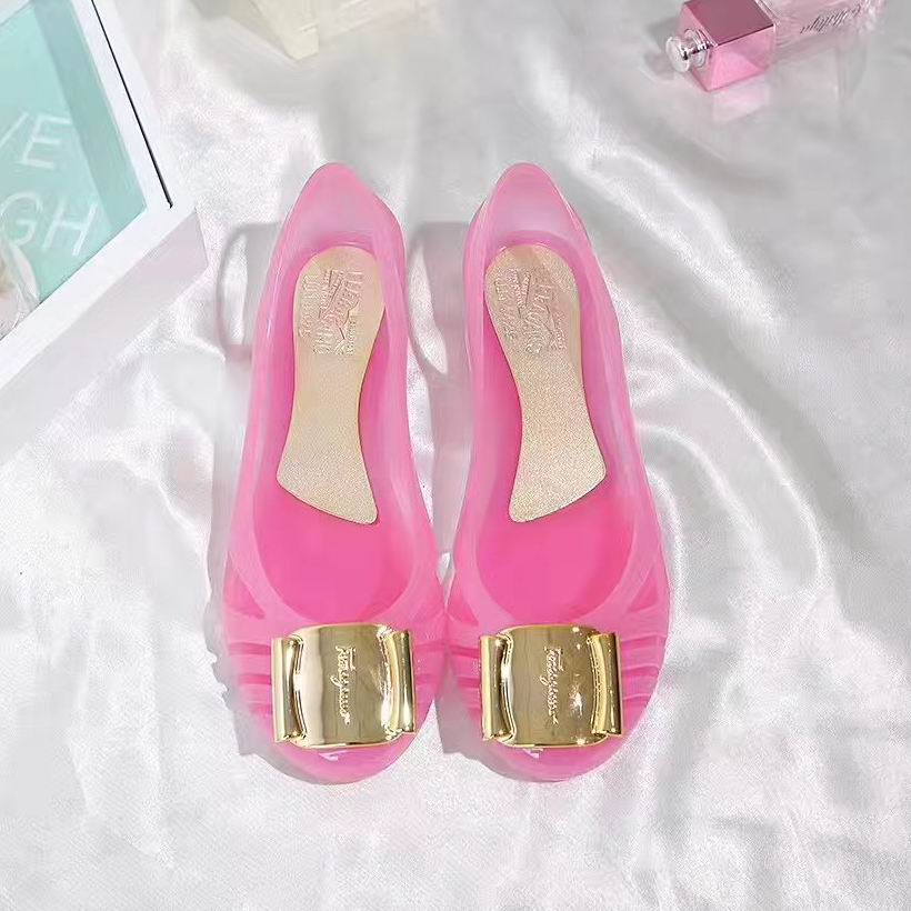 Ferragamo Bermuda Cutout Jelly Wedge Sandals Pink
