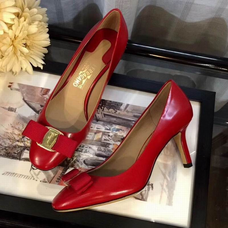 Ferragamo Carla 70mm Rounded Toe Calfskin Pumps Red