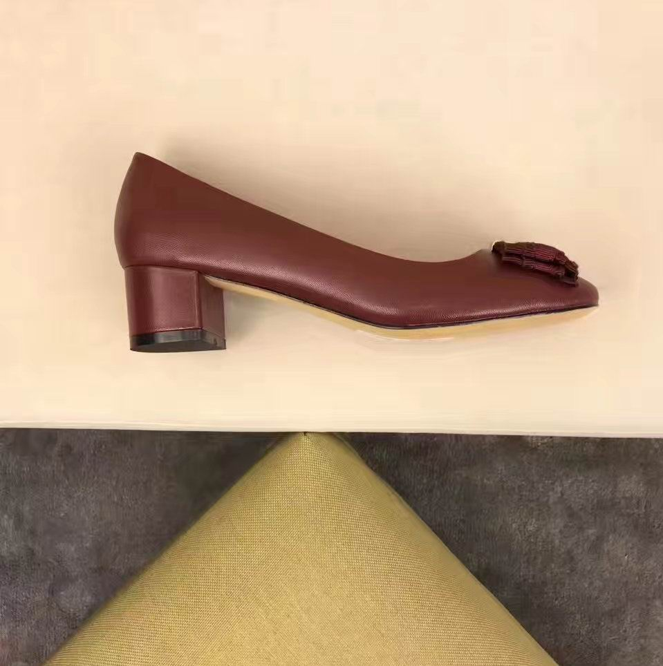 Ferragamo Elinda 40mm Leather Pump Wine