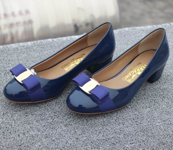 Ferragamo Low-Heel Vara Pump Blue